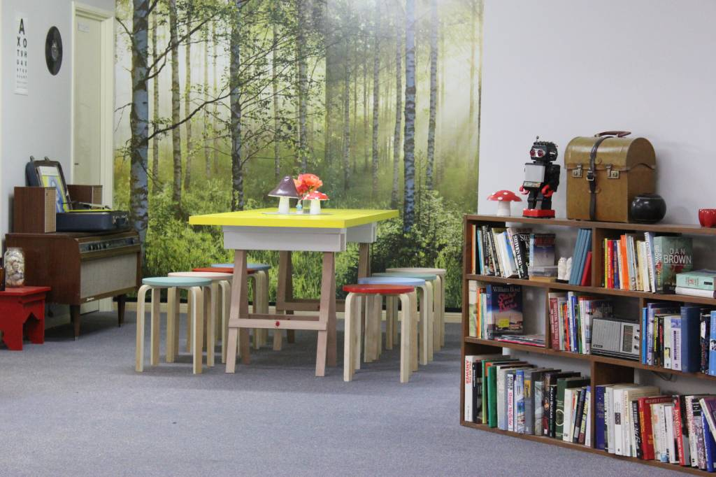 Communal dining space and book swap library